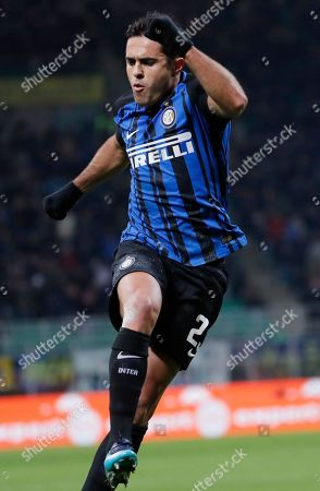 Inter Milan's Citadin Martins Eder celebrates scoring his side's first goal during an Italian Serie A soccer match between Inter Milan and Crotone, at the San Siro stadium in Milan, Italy