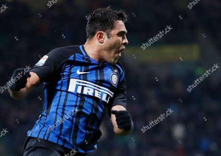 Stock Image of Inter Milan's Citadin Martins Eder celebrates scoring his side's first goal during an Italian Serie A soccer match between Inter Milan and Crotone, at the San Siro stadium in Milan, Italy