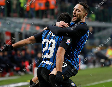 Stock Picture of Inter Milan's Citadin Martins Eder celebrates scoring his side's first goal with teammate Danilo D'Ambrosio, right, during an Italian Serie A soccer match between Inter Milan and Crotone, at the San Siro stadium in Milan, Italy