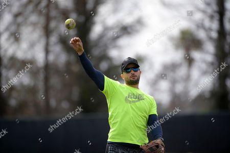 Professional baseball player Martin Prado throws while training at the Tom Shaw performance camp, in Lake Buena Vista, Fla