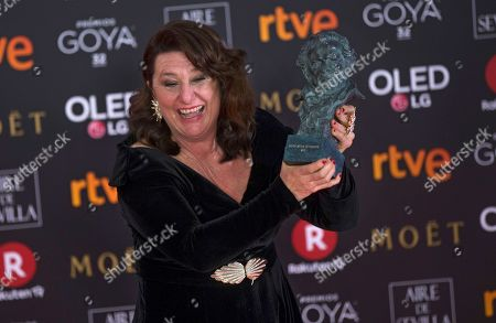 """Spanish actress Adelfa Calvo poses with her trophy after winning the best supporting actress for her role in the film """"El Autor"""" during the Goya Film Awards Ceremony in Madrid, Saturday, Feb, 3, 2018"""