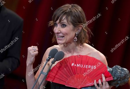 Stock Picture of Adelfa Calvo reacts after winning Best supporting actress award for the film El Autor during the Goya Film Awards Ceremony in Madrid, Spain