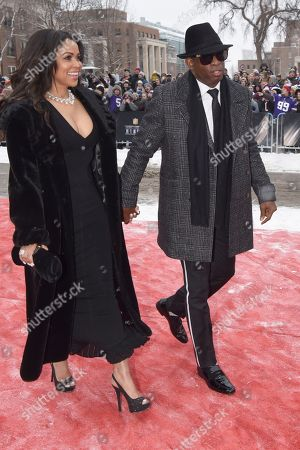 Deion Sanders, Tracey Edmonds. Former NFL player Deion Sanders, right, and Tracey Edmonds arrive at the 7th Annual NFL Honors at the Cyrus Northrop Memorial Auditorium, in Minneapolis, Minnesota