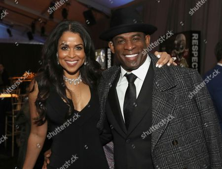 Deion Sanders, Tracey Edmonds. Former NFL player Deion Sanders, right, and Tracey Edmonds attend the 7th Annual NFL Honors at the Cyrus Northrop Memorial Auditorium, in Minneapolis, Minnesota