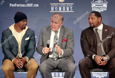 Brian Dawkins, Bobby Beathard, Ray Lewis. Former NFL players Brian Dawkins, from left, Bobby Beathard, and Ray Lewis, who will be inducted into the Pro Football Hall of Fame class of 2018, attend the 7th Annual NFL Honors at the Cyrus Northrop Memorial Auditorium, in Minneapolis, Minnesota