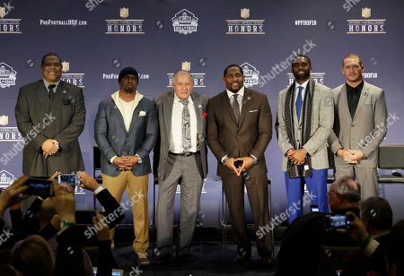 Robert Brazile, Brian Dawkins, Bobby Beathard, Ray Lewis, Randy Moss, Brian Urlacher. Former NFL players Robert Brazile, from left, Brian Dawkins, Bobby Beathard, Ray Lewis, Randy Moss, and Brian Urlacher who will be inducted into the Pro Football Hall of Fame class of 2018, attend the 7th Annual NFL Honors at the Cyrus Northrop Memorial Auditorium, in Minneapolis, Minnesota
