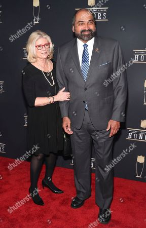 Franco Harris, Dana Dokmanovich. Former NFL player Franco Harris, right, and Dana Dokmanovich arrives at the 7th Annual NFL Honors at the Cyrus Northrop Memorial Auditorium, in Minneapolis, Minnesota