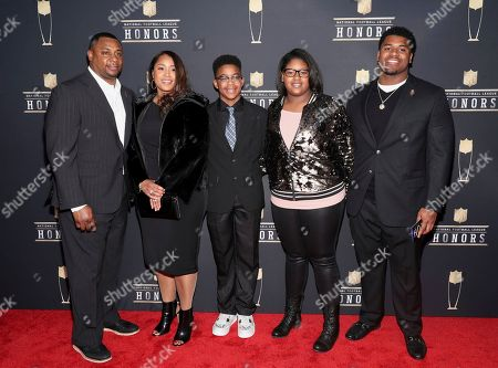Troy Vincent, Tommi Vincent, Troy Vincent Jr., Desiree Vincent, Taron Vincent. Former NFL Player Troy Vincent, from left, Tommi Vincent, Troy Vincent Jr., Desiree Vincent, and Taron Vincent arrive at the 7th Annual NFL Honors at the Cyrus Northrop Memorial Auditorium, in Minneapolis, Minnesota