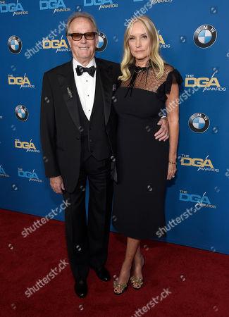 Peter Fonda, Margaret DeVogelaere. Peter Fonda, left, and Margaret DeVogelaere arrive at the 70th annual Directors Guild of America Awards at The Beverly Hilton hotel, in Beverly Hills, Calif