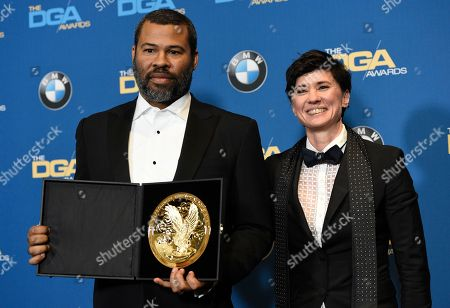 """Kimberly Peirce, Jordan Peele. Kimberly Peirce, right, poses in the press room with Jordan Peele, winner of the award for outstanding directorial achievement for a first-time feature for """"Get Out"""""""