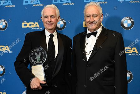 Don Mischer, Jim Tanker. Don Mischer, right, poses in the press room with Jim Tanker, winner of the Franklin J. Schaffner achievement award,
