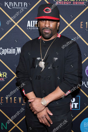 DJ Clue arrives at the Maxim Super Bowl Party at the Maxim Dome, in Minneapolis