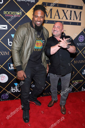 Cameron Jordan, Jay Glazer. New Orleans Saints Cameron Jordan and Jay Glazer arrive at the Maxim Super Bowl Party at the Maxim Dome, in Minneapolis