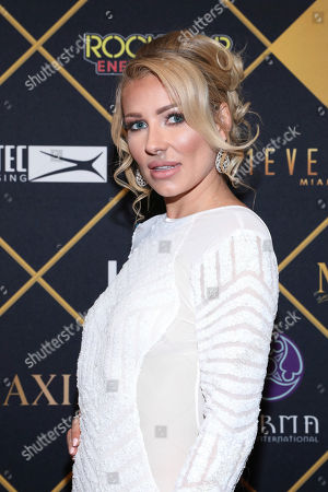 Actress Anya Benton arrives at the Maxim Super Bowl Party at the Maxim Dome, in Minneapolis