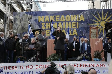 Stock Photo of Greek composer Mikis Theodorakis (5-L), adresses the protesters, in front of a banner that reads 'Macedonia means Greece' during  a massive rally over the name of the Former Yugoslav Republic of Macedonia (FYROM) against to its use of the name 'Macedonia' amid a revival of efforts to find a solution between the two countries, in Athens, Greece, 04 February 2018.