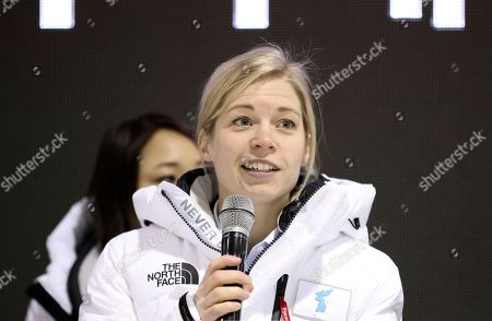 Sarah Murray, one of the coaches of the combined Koreas team answers a reporter's question after the practice match between the combined Koreas team and Sweden prior to the 2018 Winter Olympics in Incheon, South Korea