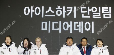 Korea's unified women's ice hockey team head coach Sarah Murray (2-L) and player Park Jong-ah (L) with Korea's unified women's ice hockey team coach Pak Chol-ho (2-R) and player Jung Su-hyon (R) a two Korea's unified women's ice hockey team media day after an friendly match against Sweden, at the Incheon Seonhak International Ice Rink in Incheon, South Korea, 04 February 2018. The PyeongChang 2018 Winter Games Olympics will run from 09 to 25 February 2018.