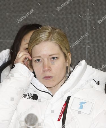 Korea's unified women's ice hockey team head coach Sarah Murray during a two Korea's unified women's ice hockey team media day after an friendly match against Sweden, at the Incheon Seonhak International Ice Rink in Incheon, South Korea, 04 February 2018. The PyeongChang 2018 Winter Games Olympics will run from 09 to 25 February 2018.