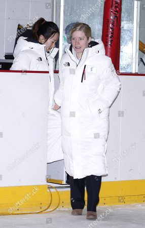 Korea's unified women's ice hockey team head coach Sarah Murray (R) arrives during a two Korea's unified women's ice hockey team media day after an friendly match against Sweden, at the Incheon Seonhak International Ice Rink in Incheon, South Korea, 04 February 2018. The PyeongChang 2018 Winter Games Olympics will run from 09 to 25 February 2018.
