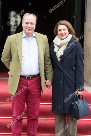Prince Carlos of Bourbon-Parma and Princess Annemarie leaving the Royal Palace