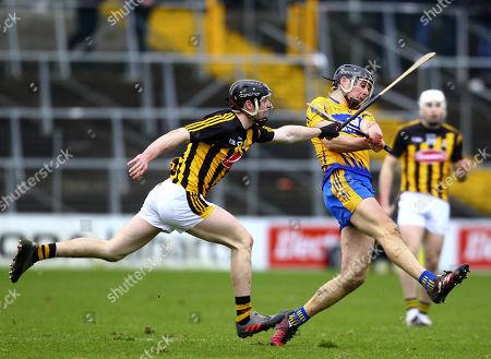 Kilkenny vs Clare. Clare's Cathal Malone and Kilkenny's Enda Morrissey