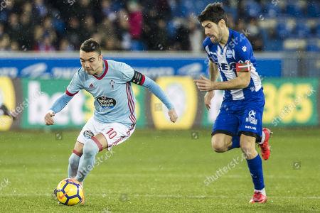 Iago Aspas Juncal of Real Club Celta de Vigo and Manuel Alejandro Garcia of Deportivo Alaves CF