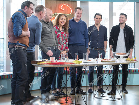 Tim Maddams, Tim Lovejoy, Simon Rimmer, Angela Griffin, Alastair Campbell, Ollie Locke and Joel Dommett