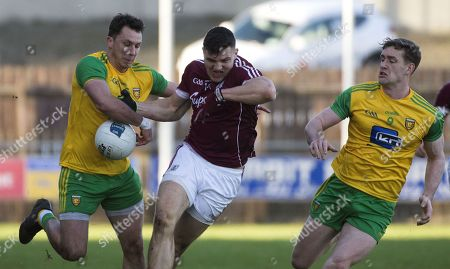 Donegal vs Galway. Donegal's Paul Brennan and Hugh McFadden with Galway's Damien Comer