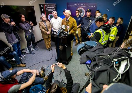 South Carolina Governor Henry McMaster speaks at a press conference following a crash between an Amtrak train and CSX freight train in Cayce, SC, near Charleston Highway and Pine Ridge Road around 2:35 a.m. Sunday. Two people were killed and at least 70 people were injured. The lead engine and a few passenger cars derailed. AP Photo/Jeff Blake