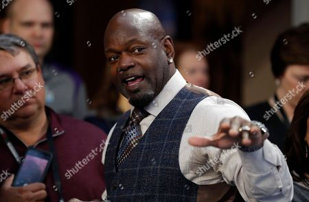 NFL Hall of Famer Emmitt Smith is seen, before the NFL Super Bowl 52 football game between the Philadelphia Eagles and the New England Patriots, in Minneapolis