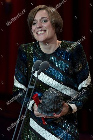 Carla Simon holds her Goya after winning the Best New Director award for the film Verano 1993 during the Goya Film Awards Ceremony in Madrid, Spain