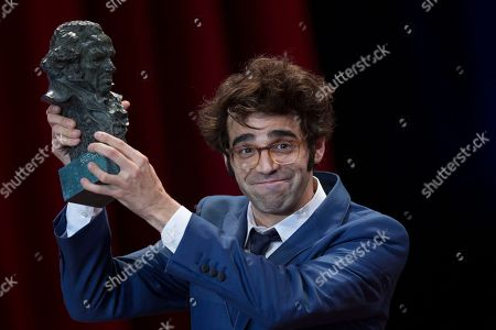 David Verdaguer holds his Goya after winning Best Supporting Actor Prize for the film Verano 1993 during the Goya Film Awards Ceremony in Madrid, Spain