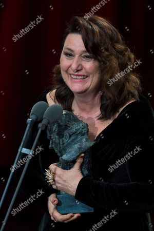 Adelfa Calvo holds her Goya after winning Best Supporting Actress award for the film El Autor during the Goya Film Awards Ceremony in Madrid, Spain