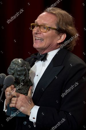 Film director Ruben Ostlund makes a speech after his film The Square won the Best European Film prize during the Goya Film Awards Ceremony in Madrid, Spain