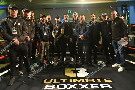 Ricky Hatton (4th R), Paulie Malignaggi (3rd R) and Anthony Crolla (2nd R) with the boxers during the Ultimate Boxxer Launch at the ME London Hotel on 5th February 2018