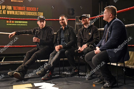 Stock Photo of Founder Benjamin Shalom (L), Paulie Malignaggi, Anthony Crolla and Ricky Hatton during the Ultimate Boxxer Launch at the ME London Hotel on 5th February 2018