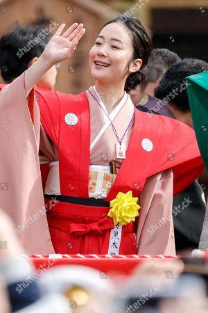 Japanese actress Haru Kuroki takes part in the Setsubun festival at Naritasan Shinshoji Temple