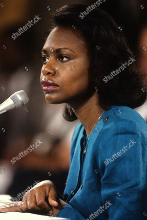 Anita Hill testifies to sexual harassment from former boss Clarence Thomas during a Senate Judiciary Committee hearing on the nomination of Thomas to the Supreme Court