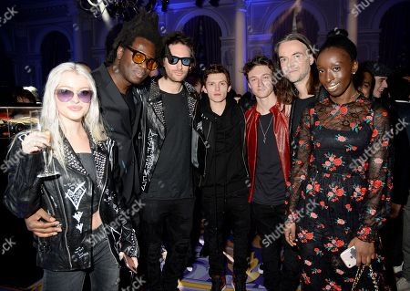 Stock Photo of Alice Chater, Bradley Theodore, Marc Jacques Burton, Tom Holland, Harrison Osterfield and Jason Mcnab with guest