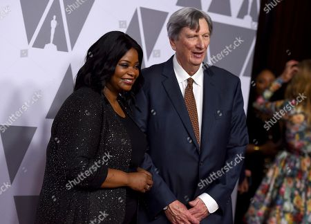 Octavia Spencer, left, and John Bailey arrive at the 90th Academy Awards Nominees Luncheon at The Beverly Hilton hotel, in Beverly Hills, Calif