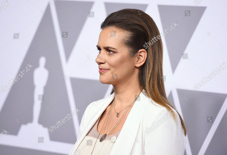 Emilie Georges arrives at the 90th Academy Awards Nominees Luncheon at The Beverly Hilton hotel, in Beverly Hills, Calif