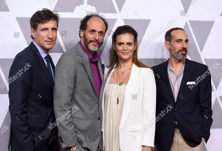 Peter Spears, Luca Guadagnino, Emilie Georges, Marco Morabito. Peter Spears, from left, Luca Guadagnino, Emilie Georges and Marco Morabito arrive at the 90th Academy Awards Nominees Luncheon at The Beverly Hilton hotel, in Beverly Hills, Calif