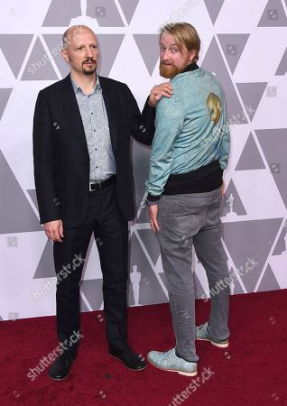 Ivan Mactaggart, Hugh Welchman. Ivan Mactaggart, left, and Hugh Welchman arrive at the 90th Academy Awards Nominees Luncheon at The Beverly Hilton hotel, in Beverly Hills, Calif