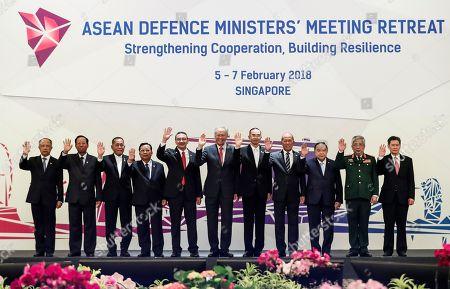 ASEAN defense ministers pose for a group photo ahead of the ASEAN Defense Ministers' Meeting, in Singapore. From left to right are Brunei's Haji Awang Halbi bin Haji Mohd Yusof, Cambodia's Tea Banh, Indonesia's Ryamizard Ryacudu, Laos' Chansamone Chanyalath, Malaysia's Hishammuddin Hussein, Singapore's Ng Eng Hen, Myanmar's Sein Win, Philippines' Delfin Lorenzana, Thailand's Prawit Wongsuwon, Vietnam's Nguyen Chi Vinh and ASEAN Secretary-General Lim Jock Hoi