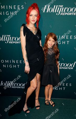 Bria Vinaite, Valeria Cotto. Bria Vinaite, left, and Valeria Cotto arrive at the The Hollywood Reporter's 2018 Academy Awards Nominees Night at the Cut Beverly Hills, in Beverly Hills, Calif