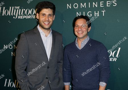 Stock Image of Michael H. Weber, Scott Neustadter. Michael H. Weber, left, and Scott Neustadter arrive at the The Hollywood Reporter's 2018 Academy Awards Nominees Night at the Cut Beverly Hills, in Beverly Hills, Calif
