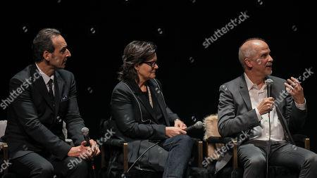 Composer Alexandre Desplat, editor Tatiana S. Riegel and visual effects supervisor John Nelson,