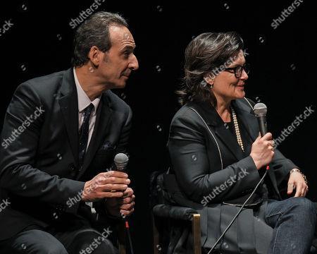 Composer Alexandre Desplat and editor Tatiana S. Riegel