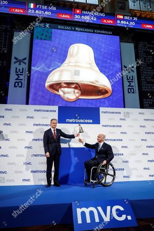 Property Development Company Metrovacesa's Chairman, Ignacio Moreno Martinez (L), and CEO Jorge Perez de Leza ring the bell during the company' listing at Madrid Stock Exchange Market, Spain, 06 February 2018. The company's shares dropped by seven percent after its second listing. The company listed for second time after leaving the stock market in 2013..