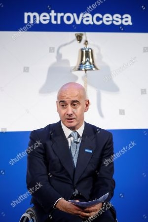 Property Development Company Metrovacesa's CEO Jorge Perez de Leza delivers a speech during the company' listing at Madrid Stock Exchange Market, Spain, 06 February 2018. The company's shares dropped by seven percent after its second listing. The company listed for second time after leaving the stock market in 2013.